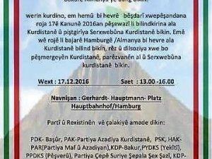 Hamburg: Xwepêşandin roja Ala Kurdistanê