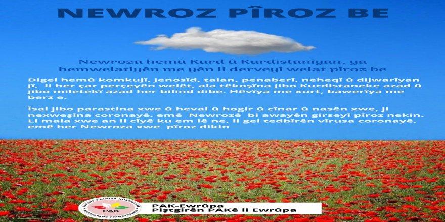 Piştgirên PAKê li Ewrûpa: Newroz pîroz be