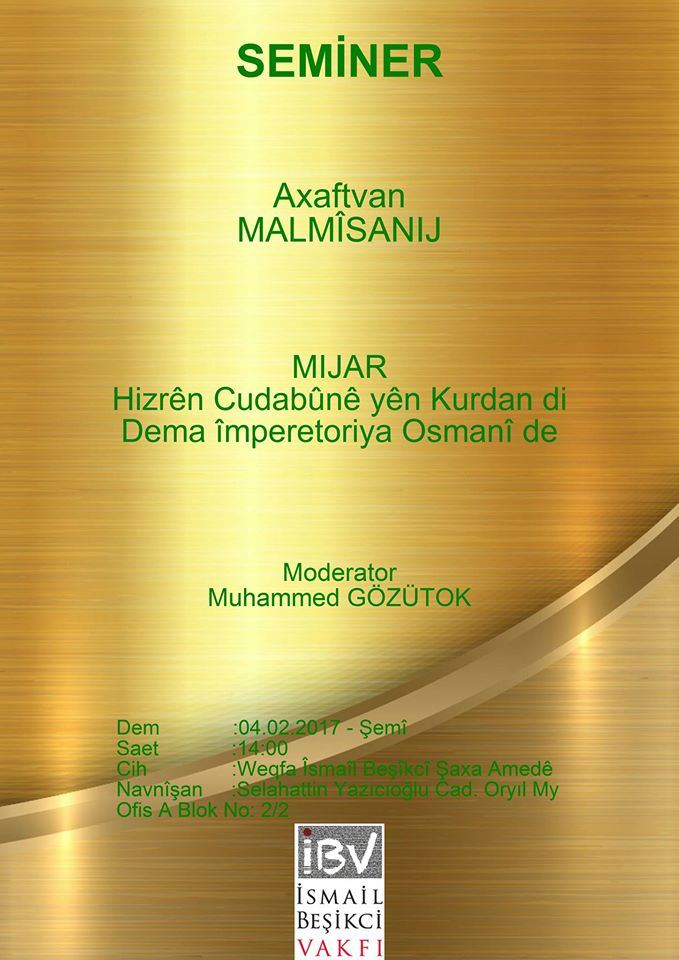 Seminer: Hizrên cûdabûnê yên kurdan di dema imparatoriya Osmanî de