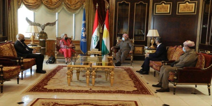 Serok Barzanî û Nûnera Sekreterê Giştî yê NY li Iraqê civiyan