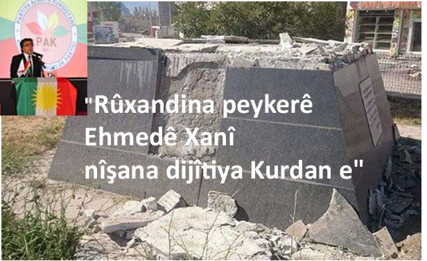 """""""Rûxandina peykerê Ehmedê Xanî, nîşana dijîtîya Kurda ne!"""""""