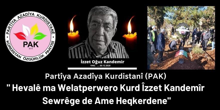 PAK: Hevalê ma Welatperwero Kurd Îzzet Kandemîr Sewrêge de Ame Heqkerdene