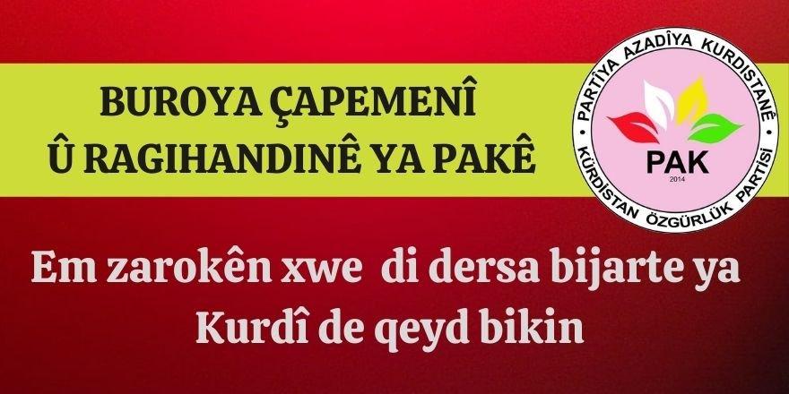 PAK: Malbatên Kurdan  heta roja 21.01.2021ê em zarokên xwe  di dersa bijarte ya Kurdî de qeyd bikin