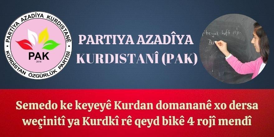 PAK: Semedo ke keyeyê Kurdan domananê xo dersa weçinitî ya Kurdkî rê qeyd bikê 4 rojî mendî