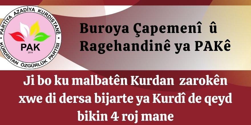 PAK: Ji bo ku malbatên Kurdan zarokên xwe di dersa bijarte ya Kurdî de qeyd bikin 4 roj mane