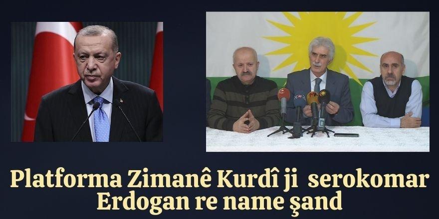 Platforma Zimanê Kurdî ji serokomar Erdogan re name şandiye