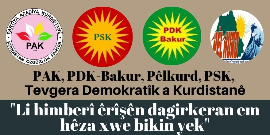 PAK, PDK-Bakur, Pêlkurd, PSK, Tevgera Demokratîk a Kurdistanê: Li himberî êrîşên dagirkeran em hêza xwe bikin yek