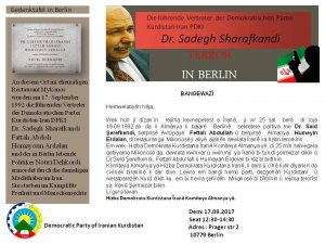 Dr. Şerefkendî li Berlînê li ciyê şehîd ketiye tê bibîranîn