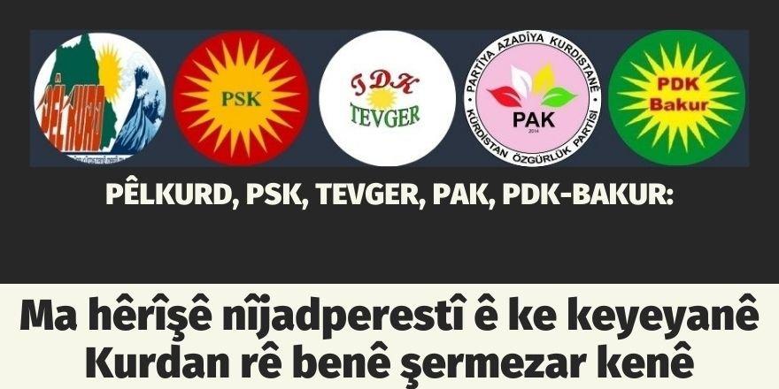 PÊLKURD, PSK, TEVGER, PAK, PDK-BAKUR:Ma hêrîşê nîjadperestî ê ke keyeyanê Kurdan rê benê şermezar kenê