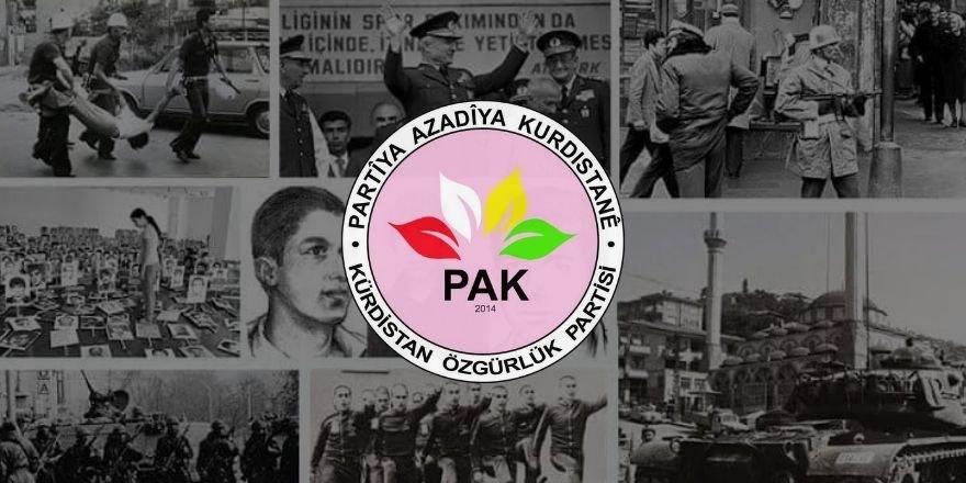 PAK: Darbeya 12ê êlûla 1980î dişmenê miletê Kurd û dişmenê azadî, demokrasî û edaletî bî