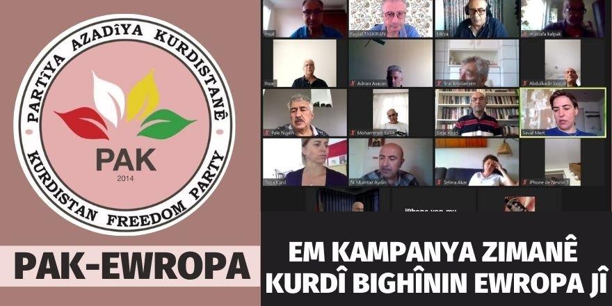 PAK-Ewropa: Em kampanya zimanê Kurdî bighînin Ewropa jî