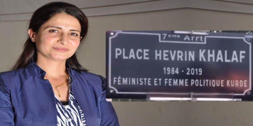 Navê Hevrîn Xelef li meydaneke sereke ya Fransayê hat kirin