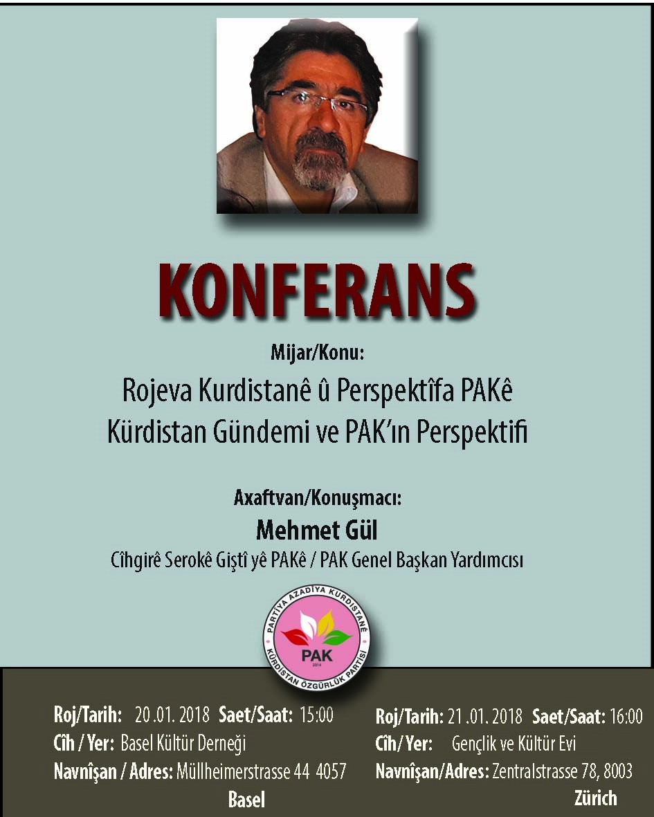 Li Swîsrê li ser rojeva Kurdistanê konferans
