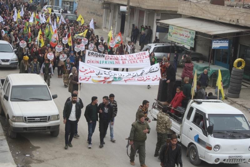 Ji xelkê Efrînê li dijî Tirkiyeyê xwepêşandan!