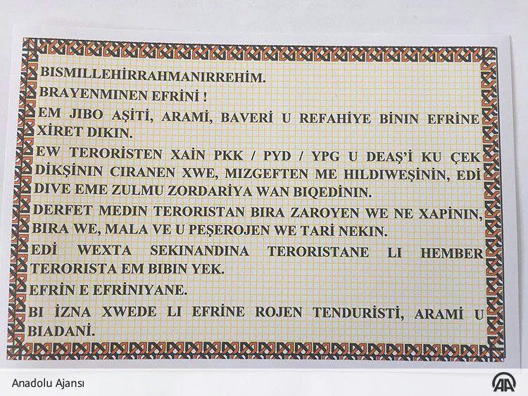 Artêşa tirk li Efrînê belavokên bi kurdî belav kirin!