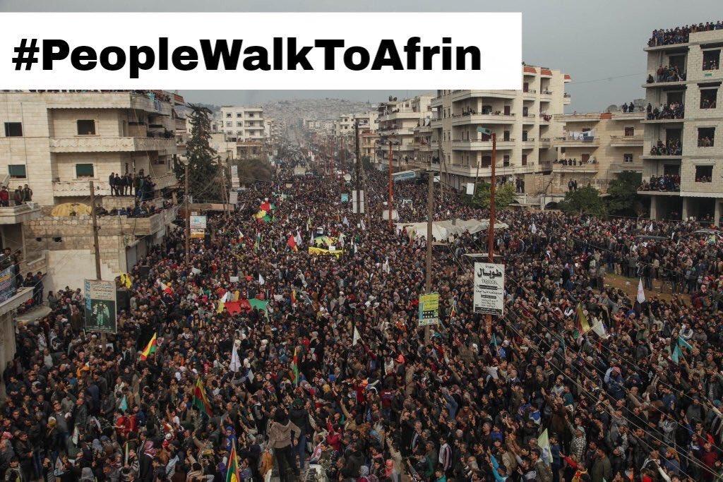 VÎDYO/ Xelkê Rojavayê Kurdistanê herikîn Efrînê
