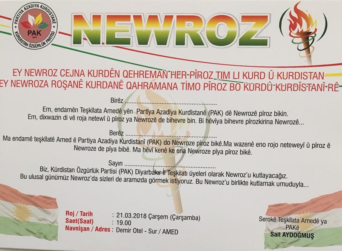 PAK sibê Newrozê pîroz dike
