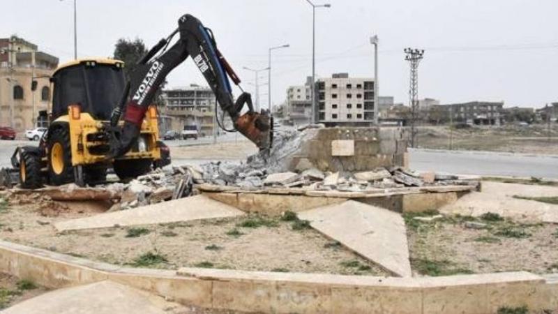 Doh li Efrînê, îro li Nisêbînê: Peykera Newrozê hate hilweşandin