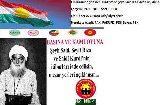 Bila îtîbara Şêx Seîd, Seyîd Riza û Seîdê Kurdî li wan bête vegerandin û cîyê mezelê wan bê eşkerekirin