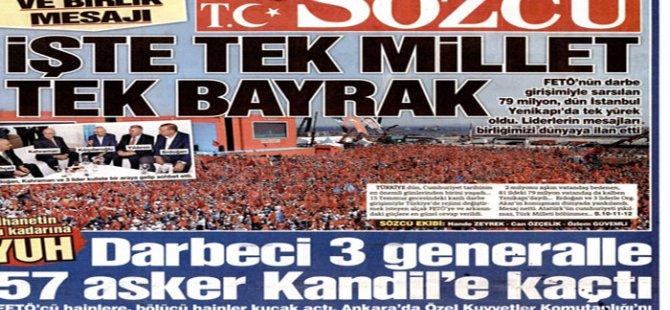 """Rojnameya Sözcü; """"60 efserên tirk revîyan çûn Qendîlê"""""""