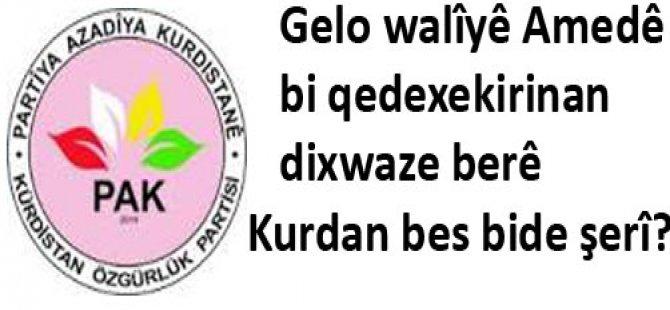 Gelo Walîyê Amedê  bi qedexekirinan dixwaze berê Kurdan bes bide şerî?