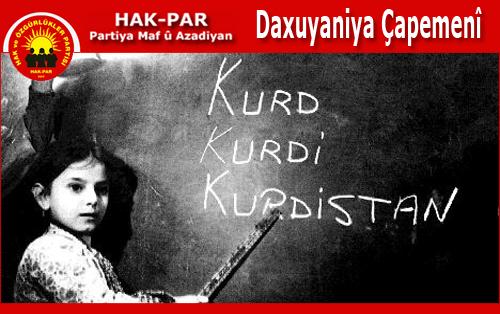"""""""Zarokên Kurd dê bi derew û xapandinê dest bi xwendinê bikin"""""""